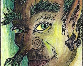Bramble Green Man 1 ACEO