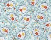 Plump Posy Bouquets Fat Quarter - Vintage Style Orange, Teal and Gold Posies - FREE SHIPPING