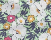 Eye-Popping Poppies - Reprodution White Poppies on Mint Green Fabric - 1 Yard Cut