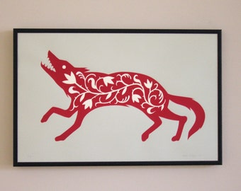 The Fancy Wolf Print (Red)
