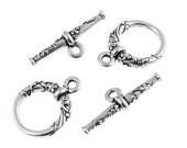 Silver Toggle Clasp Findings - Antique Silver Toggles - TierraCast Pewter Floreale Toggles - Floral Flower Natural (PF81)