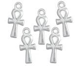 TierraCast Ankh Charm - 21mm Bright Rhodium Silver Charms - Egypt Egyptian Ankh Symbol - Yoga Charms (P874)