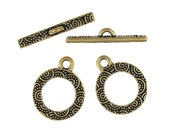 "Antique Gold Toggle Clasp Findings - TierraCast 5/8"" Spiral Bar and Ring Clasp Set (PF392)"