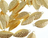 Gold Leaf Charms Plated Gold Leaves 15mm x 7mm Golden Leaves Autumn Fall