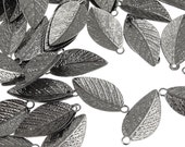 GunMetal Leaf Charms - Gun Metal Plated Leaves 15mm x 7mm - Autumn Leaves Fall Jewelry Supplies