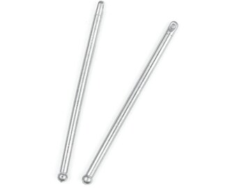 TierraCast Bead Bars 2 Inch Bars for Large Hole Beads Bright Rhodium Silver (PF367)