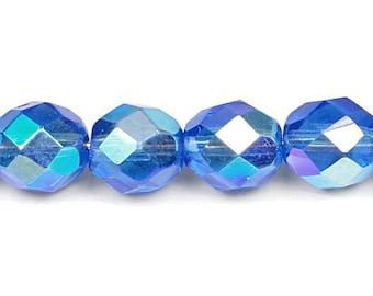 25 Sapphire Blue AB 8mm Beads - Firepolish Fire Polished Czech Glass Beads - Rich Blue Beads with Aurora Borealis Finish