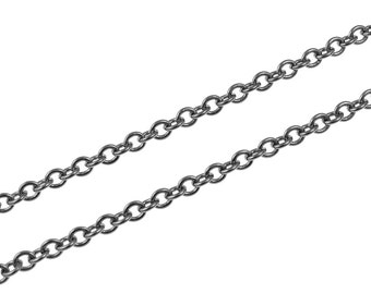 GunMetal Chain 3 Feet Medium Sized Round Cable Chain Gun Metal Chain Loose Chain for Necklaces (FSGMC8)