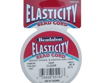 Clear Beadalon Elasticity Stretch Elastic Cord for Jewelry Making 25 Meter (82 Foot) Spool  0.8mm diameter