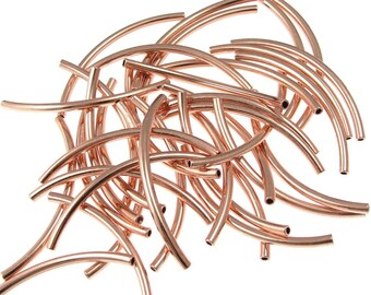 36 Copper Noodle Beads 2mm x 38mm Copper Tube Beads - Curved Tube Beads 1mm Inner Diameter Copper Tubes (FSC5)