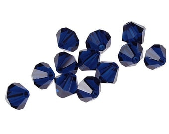 12 DARK INDIGO 6mm Swarovski Crystal Elements Bicones - Article 5301 5328 - 6mm Bicone Beads Dark Navy Blue Swarovski Beads