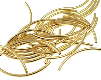 144 Gold Noodle Beads Tube Beads Gold Plated 2mm x 38mm with 1mm Internal Diameter Curved Tube Beads Metal Beads BULK BAG (FS52)