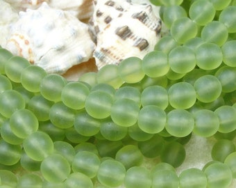50 Olivine 6mm Czech Glass Frosted Seaglass Beach Style Round Beads Olive Leaf Green
