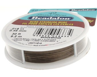 "Bronze Beadalon 49 Strand .018"" Professional Beading Wire - 30 Feet - Flexible Jewelry Wire for Bracelets and Necklaces Necklace Wire"