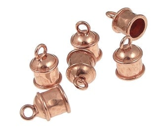 6 Copper Kumihimo Caps - 6mm ID Kumihimo Cord End Caps - Copper Plated Large Fancy Kumihimo Findings (KH18)