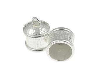 2 Silver Plated Large ID 9mm - Exterior 14mm x 12mm Fancy Kumihimo Cord Caps Cord Ends Kumihimo Supplies Kumihimo Findings (KH19)