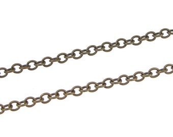 25 Foot Spool Antique Brass Chain Brass Ox 2mm Wide Cable Chain - Loose Bronze Chain for Jewelry Making Necklace Chain  (FSABC10)