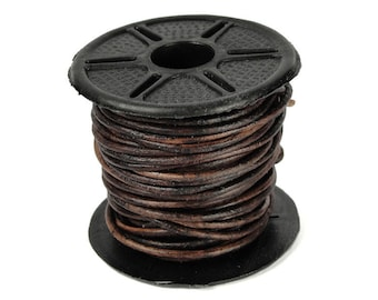 Antique Brown Leather Cord 10 Meter Spool 1.5mm Natural Leather Lace Round