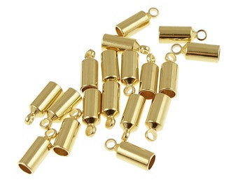 18 Kumihimo Cord End Gold Plated 3mm Cord End Caps Kumihimo Supplies (KH23)