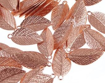Copper Leaf Charms Bright Copper Plated Leaves Drops 15mm x 7mm Autumn Fall Jewelry Supplies