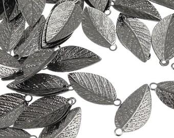 GunMetal Leaf Charms - Gun Metal Plated Leaves 15mm x 7mm - Autumn Leaves Fall Jewelry Supplies