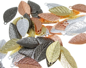 Autumn Leaves 48 Mixed Metal Leaf Charms 15mm x 7mm