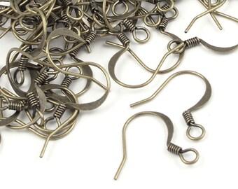 48 Antique Brass Earring Wires - 16mm Ear Hook - Brass Oxide Bronze Ear Findings (FSAB20)