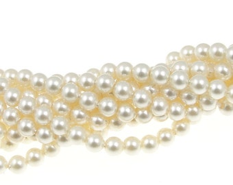 100 CREAM 4mm Swarovski Pearls - 5810 4mm Crystal Pearl Beads - Off-White Neutral Cream Pearls