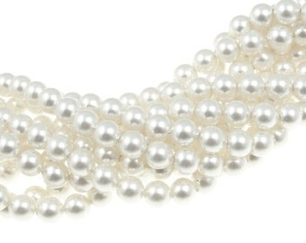 100 WHITE 5mm Swarovski Pearl Beads 5810 5mm Swarovski Crystal Pearls White Bridal Wedding Jewelry Beads