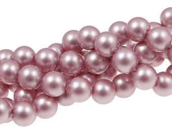 8mm POWDER ROSE Swarovski Pearls Crystal Pearl Beads Matte Light Dusty Rose Pink Pearls Article 5810 8mm Pearl Beads Pink Beads