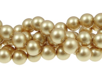 8mm VINTAGE GOLD Swarovski Crystal Pearl Beads 8mm Pearls Matte Powdered Gold Pearl Article 5810 8mm Beads for Jewelry Making Swarovski Bead