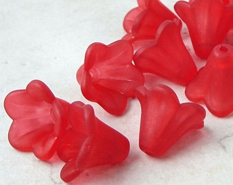 12 RED Flower Beads Frosted Lucite Flower Beads Red Flowers 14mm x 10mm Bright Red Candy Apple Red Beads