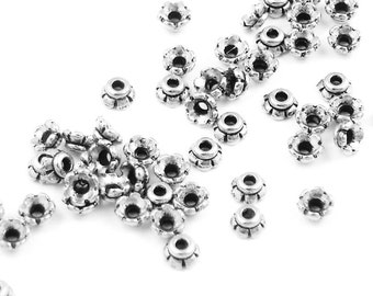 50 Small Silver Beadcaps Antique Silver Bead Caps 4mm Scalloped TierraCast Pewter Caps Metal Beads (PC1)