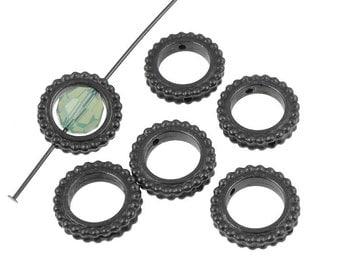 8mm Round Bead Frames - Gunmetal Black Oxide Bead Frames TierraCast (P1073)
