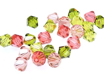 24 6mm Bicones Swarovski 5301 5328  Beads Spring Rose Mix Assortment Pink and Green (MX25)