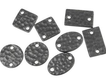 8 Piece Mix - Gunmetal Black Oxide Link Assortment Mix - Hammertone Textured Metal Connectors TierraCast