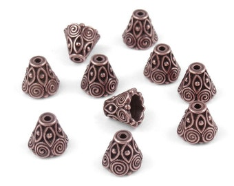 10 Copper Bead Caps - 9mm x 10mm Antique Copper Beadcaps - TierraCast SPIRALS CONE - Copper Metal Beads Bali Style (PC114)