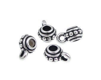 Antique Silver Pendant Bails - TierraCast BEADED BAIL Necklace Findings - Silver Bail Findings (PF557)