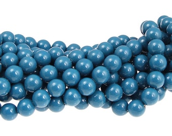 LAPIS BLUE 6mm Swarovski Pearls 5810 6mm Blue Swarovski Crystal Pearls Gemcolor Gem Color Beads Medium Blue Beads Glossy Shiny Beads