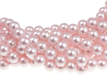 ROSALINE 6mm Swarovski Pearl Beads 5810 6mm Pearls Light Pink Swarovski Crystal Pearls Light Rose Pink Pearls for Wedding Bridesmaid Jewelry
