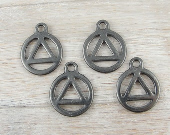 Recovery Charms Black Oxide Gunmetal Recovery Symbol TierraCast Charms (P1116)