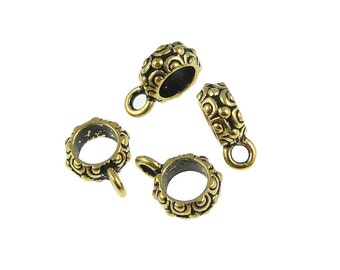 Large Hole Bail Gold Bail Findings TierraCast Oasis Bail Antique Gold Necklace Bail Kumihimo Supplies Kumihimo Findings  (PF341)