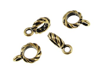 Large Hole Bails - Antique Gold TierraCast Twisted Kumihimo Bail Findings 6mm ID Pendant Bails for Leather Cord - Kumihimo Supplies (PF332)