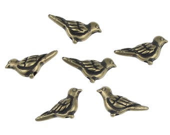 Bird Beads Antique Brass Beads Brass Oxide Paloma Dove TierraCast Pewter Beads Vintage Style Bronze Viva Mexicana (PA37)