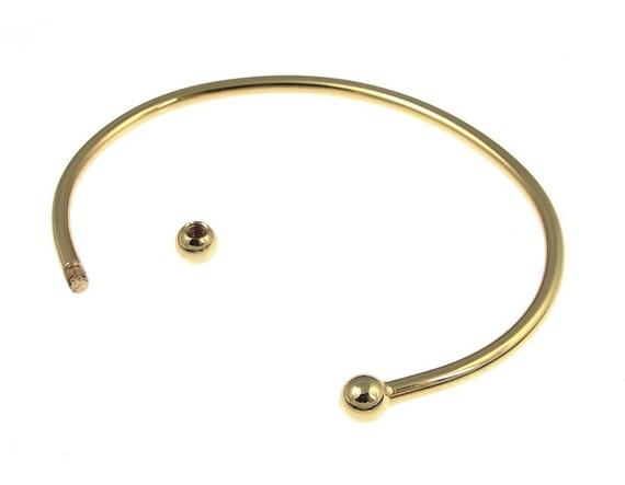 Gold Bracelet Gold Plated 70mm Add-A-Bead Cuff Bangle Bracelet Add A Bead Add On Jewelry (FS34)
