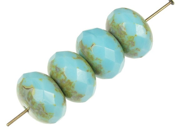 4 Turquoise Beads - Jablonex 14mm x 9mm Czech Glass Beads - Rondelle Beads - Opaque Light Turquoise Picasso Blue Beads Czech Beads