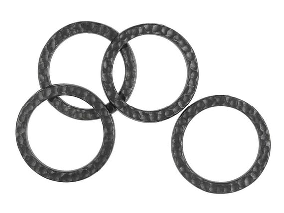20mm Textured Metal Rings TierraCast Hammertone Black Oxide Ring Links Hammered Metal Finish Tierra Cast Gunmetal Gun Metal (PB16)