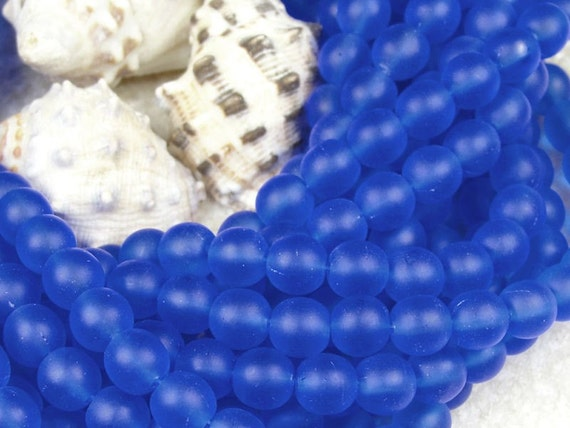 Blue Seaglass Beads - 50 Sapphire 6mm Czech Glass Frosted Seaglass Bead Style Round Beads