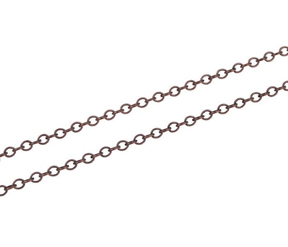 Solid Copper Chain 36 Inches Antique Aged Copper Delicate Fine Cable Chain (FSCC7)