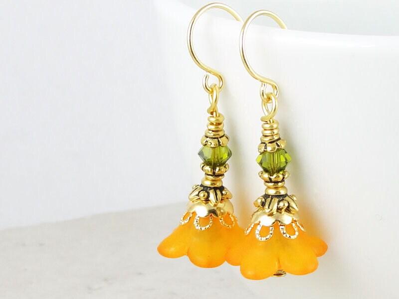 Do It Yourself Jewelry: DIY KIT Orange Flower Gold Earrings Kit Do It Yourself Jewelry